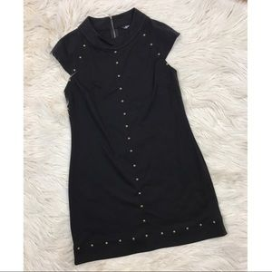 Black Knit Dress with Stud Details and Back Zipper